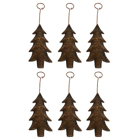 Brown Metal Hand-hammered Tree Ornament (Set of 6)