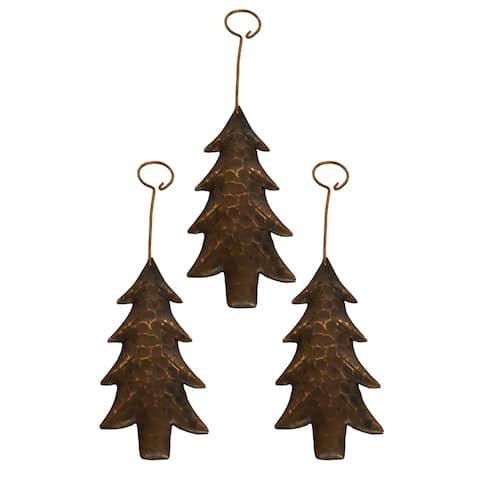 Handmade Copper Christmas Tree Ornament, Set of 3 (Mexico)