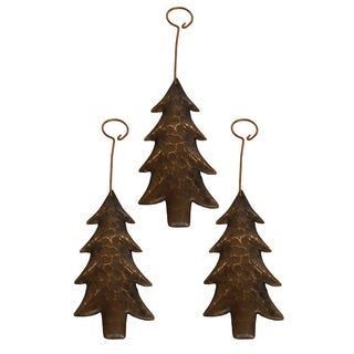 Copper Hand-hammered Christmas Tree Ornament (Pack of 3)