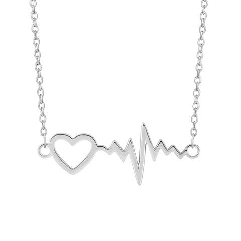 Sterling Silver 18-inch Heartbeat Bar Necklace