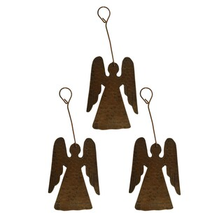 Hand-Hammered Copper Angel Christmas Ornament (Pack of 3)