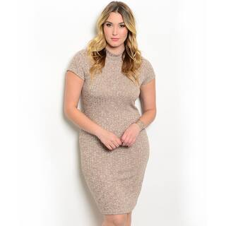 Shop The Trends Women's Plus-size Short Sleeve Mock Necklline Ribbed Knit Dress https://ak1.ostkcdn.com/images/products/13403696/P20099295.jpg?impolicy=medium