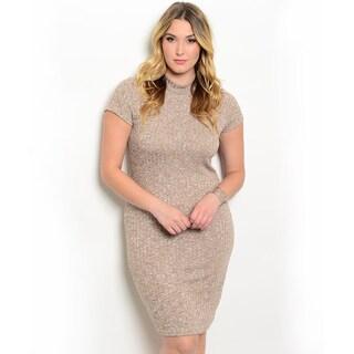 Shop The Trends Women's Plus-size Short Sleeve Mock Necklline Ribbed Knit Dress