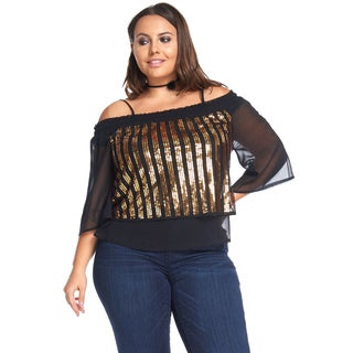 Hadari Women's Plus Size Sexy Slimming Off Shoulder Gold Blouse Top