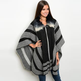 Shop The Trends Women's Navy Acrylic 3/4-sleeve Knit Sweater Poncho Cardigan|https://ak1.ostkcdn.com/images/products/13403718/P20099296.jpg?impolicy=medium