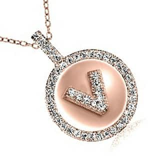 Rose Gold-plated Sterling Silver Cubic Zirconia Initial Pendant Necklace on 18-inch Chain|https://ak1.ostkcdn.com/images/products/13403721/P20099275.jpg?impolicy=medium