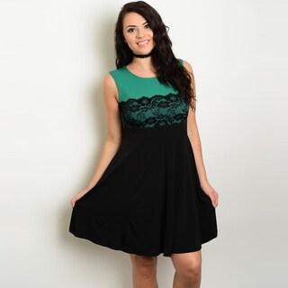 Shop The Trends Women's Plus Size Sleeveless Lace Design Skater Dress