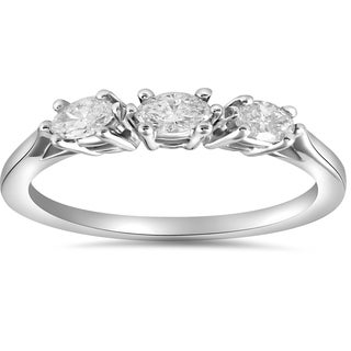 14k White Gold 1/3 ct TDW Marquise Diamond Wedding Anniversary Ring