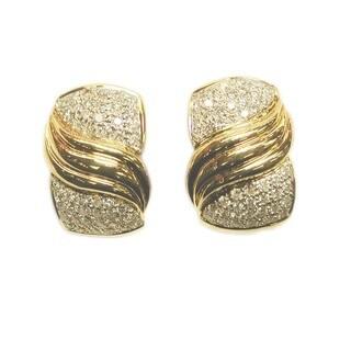 Kabella 18K Yellow Gold Diamond Hoop Earrings