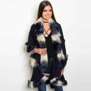 Shop The Trends Women's White/Navy Acrylic Knit/Faux-fur Trim 3/4-sleeve Cardigan Sweater