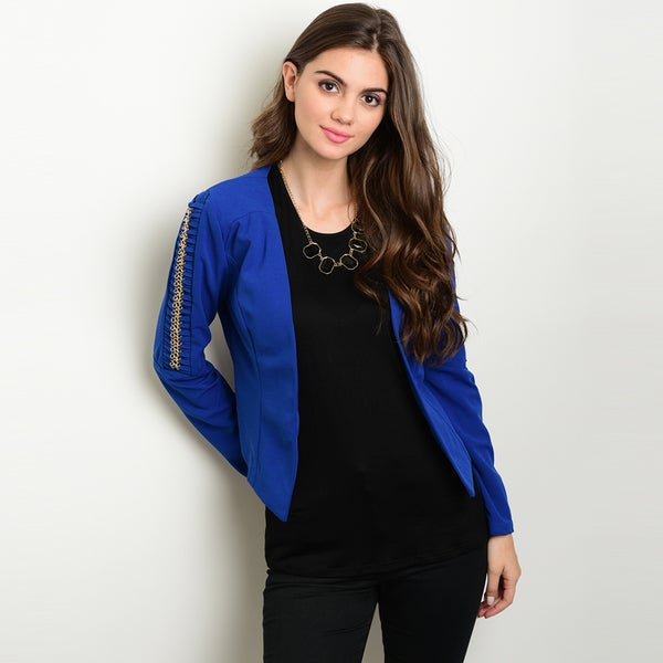 Shop The Trends Women's Blue Polyester/Spandex Long-sleeved Blazer Jacket with Embellished Details on Sleeves