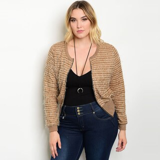 Shop the Trends Women's Brown Plus-size Long-sleeve Front-zip Jacket