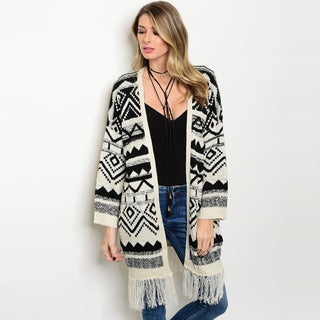 Shop The Trends Women's Long-sleeve Tribal Print White, Black Cotton, Acrylic Knit Sweater Cardigan