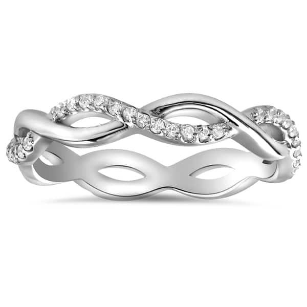 Micro Pave Infinity Twist Diamond Ring Stacking Band 2.16 Ct Simulated Diamond Solid 14K White Gold Infinity Wedding Diamond Ring
