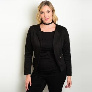 Shop The Trends Women's Plus-size Long Sleeve Blazer Jacket