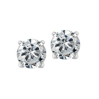 Link to Clear Swarovski Elements Sterling Silver Rhodium-plated Round Stud Earrings Similar Items in Earrings