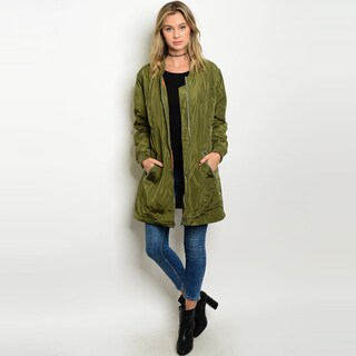 Shop The Trends Women's Long Sleeve Bomber Jacket With Zip Front Closure