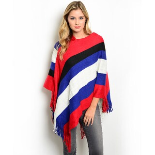 Shop The Trends Women's Multicolored Acrylic Ribbed Knit Poncho
