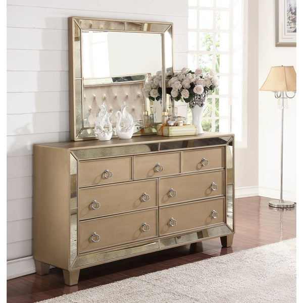 Abbyson Chateau Mirrored 7 Drawer Dresser And Mirror Set Free Shipping Today