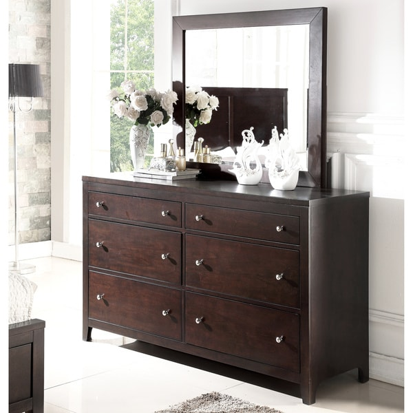 shop abbyson clarkston espresso 6 drawer dresser and mirror on sale free shipping today. Black Bedroom Furniture Sets. Home Design Ideas