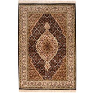 Herat Oriental Indo Hand-knotted Tabriz Wool & Silk Rug (2'10 x 4'2)