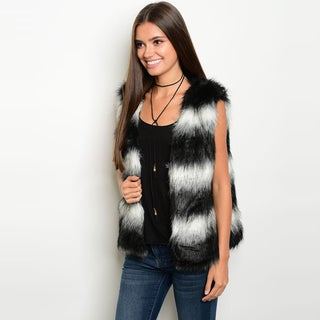 Shop The Trends Women's Black and White Faux Fur Open-front Sleeveless Vest