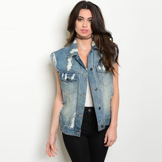 Shop the Trends Women's Blue Cotton Distressed Denim Sleeveless Boyfriend Fit Vest
