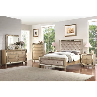 Abbyson Chateau Mirrored Tufted 6 Piece Bedroom Set
