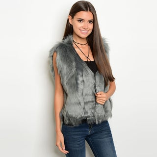 Shop the Trends Women's Faux Fur Sleeveless Open Front Vest