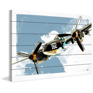 Marmont Hill - 'P38 Lightning' by Rick Martin Painting Print on White Wood