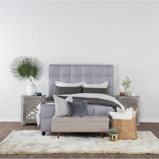 Kosas Home Gray Upholstered Tufted Taylor Queen Platform Bed