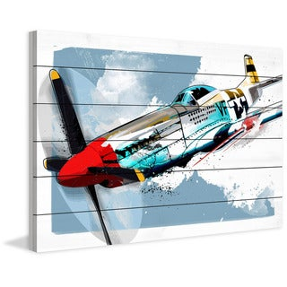 Marmont Hill - Handmade P51 Mustang Painting Print on White Wood