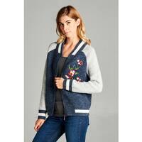 Spicy Mix Women's Dalary Navy Blue Fuzzy Knit Embroidered Bomber Jacket