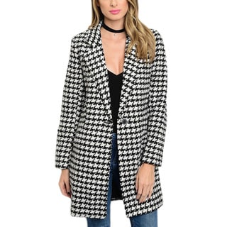 JED Women's Houndstooth Black, White Polyester Coat
