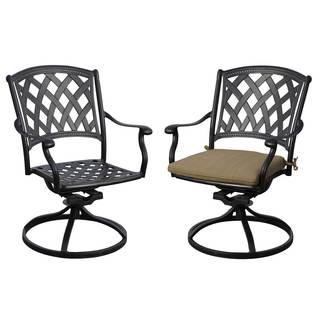 Darlee Ocean View Set of 2 Cast Aluminum Swivel Rocker Chairs with Seat Cushion