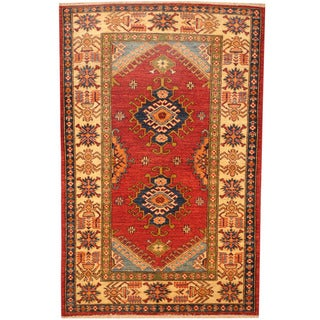 Handmade One-of-a-Kind Kazak Wool Rug (Afghanistan) - 3'4 x 5'