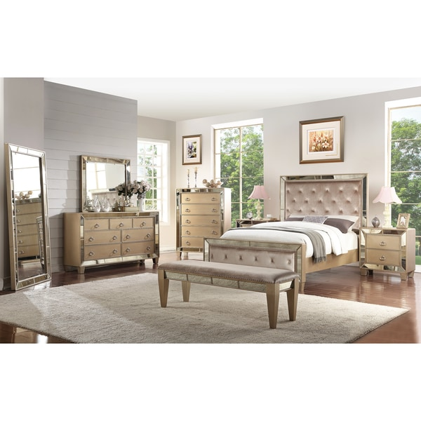 Shop Abbyson Chateau Mirrored Tufted 8 Piece Bedroom Set - Free ...