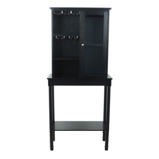 Black Finish Solid Wood Wine Storage Cabinet