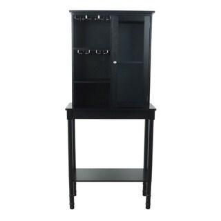 Black Finish Solid Wood Wine Storage Cabinet