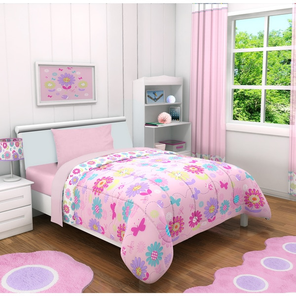 Heritage Kids Daisy Flowers Toddler 4-piece Bed in a Bag with Sheet Set