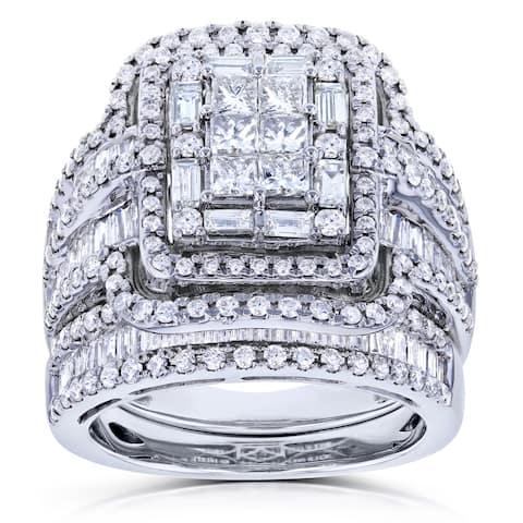 Annello by Kobelli 14k White Gold 2 1/2ct TDW Diamond Composite Rectangular Frame Bridal Rings Set