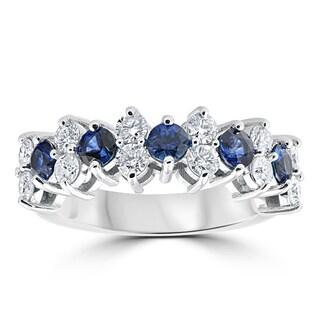 14k White Gold 2 1/2 cttw Blue Sapphire & Diamond Wedding Anniversary Ring (H-I, I1-I2)