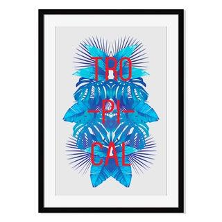 Blue tropical leaves I, Framed Paper Print