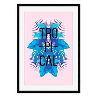 Blue tropical leaves II, Framed Paper Print