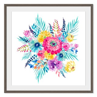 Watercolor Flowers Spring, Framed Paper Print