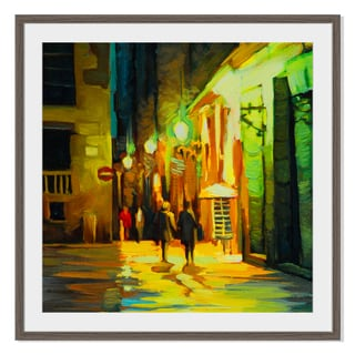 Rain in barcelona , Framed Paper Print