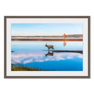 Elk Reflected in Lake, Framed Paper Print