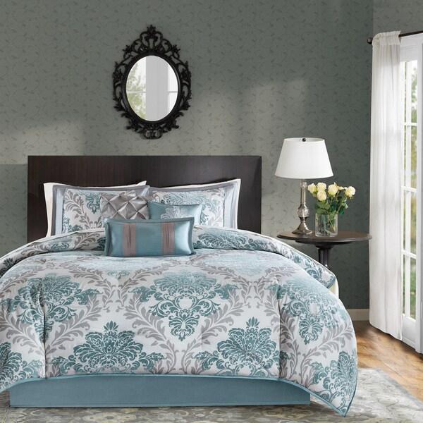 Madison Park Larissa Aqua Printed 7 Piece Comforter Set