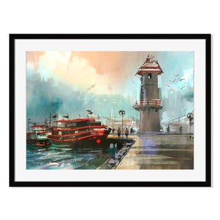 Fishing boat in harbor, Framed Paper Print