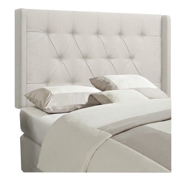 Wingback Tufted White Linen Queen/ Full Size Upholstered Headboard. Opens flyout.
